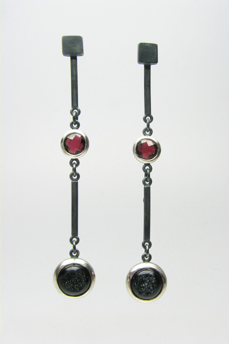 Earrings: Garnet, Druse & Silver