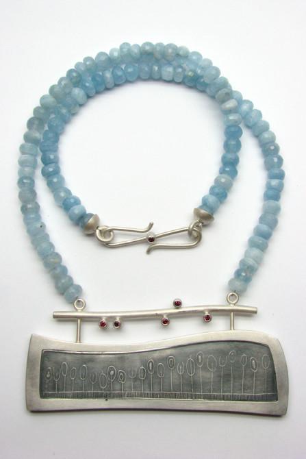 Necklace: Aquamarine, Rhodolite & Silver