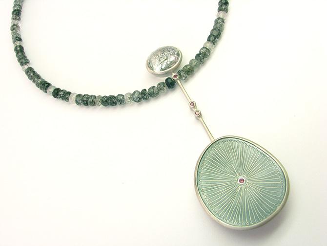 Necklace: Tourmalated Quartz, Rhodolite & Silver