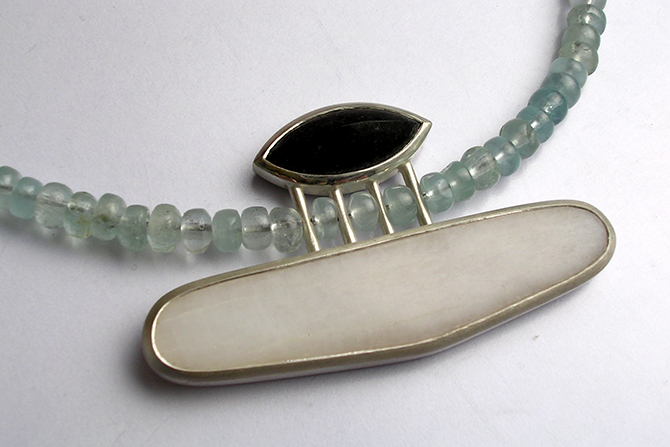 Necklace: Granite, Marble, Aquamarine & Silver