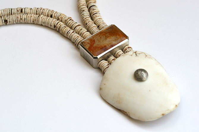 Necklace: Quartz, Omba Shell, Ostrich Egg Shell & Silver
