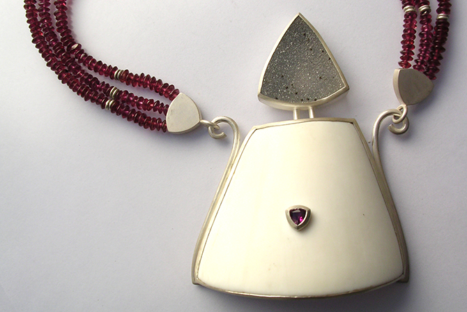 Necklace: Druse, Omba Shell, Garnet & Silver
