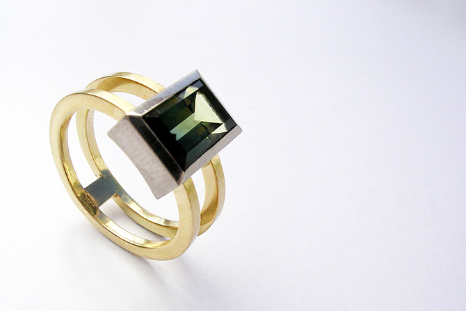 Ring: Tourmaline, White Gold & Yellow Gold