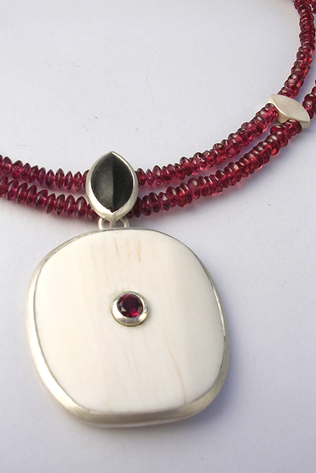 Necklace: Garnet, Shell, Granite & Silver