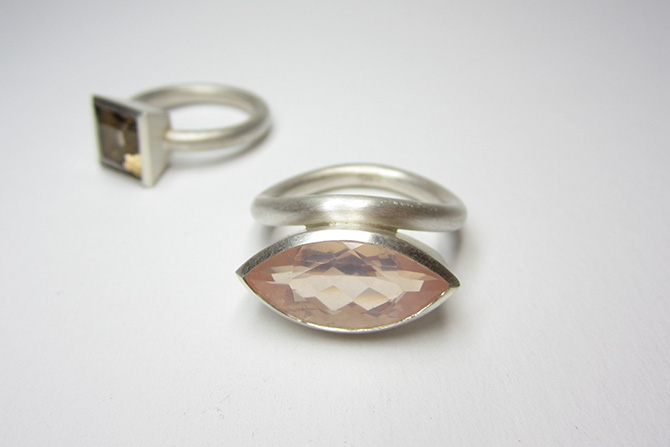 Rings: Rose Quartz, Smokey Quartz & Silver