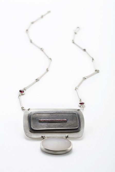 Necklace: Druse, Garnet & Silver