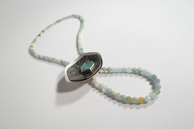 Necklace: Aquamarine, Black Diamonds & Silver