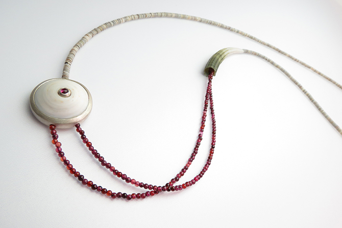 Necklace: Garnet, Shells & Silver
