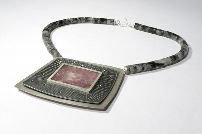 Necklace: Lepidolite, Black Diamonds, Tourmalated Quartz & Silver
