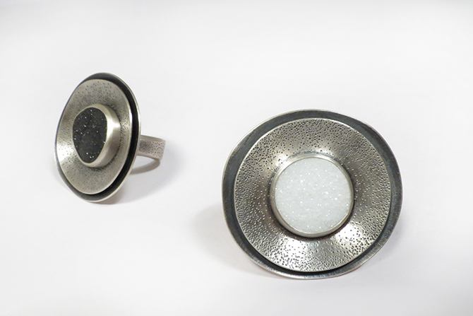 Rings: Black and White Druse & Silver