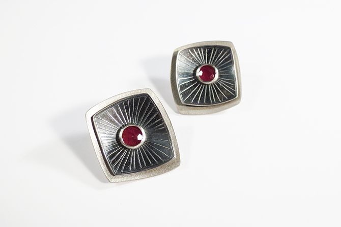 Earrings: Ruby & Silver