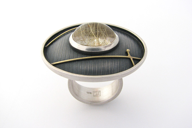 Ring: Rutilated Quartz, 18kt Yellow Gold & Silver