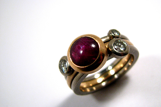 Ring: Star Ruby, Diamonds, Yellow Gold &  White Gold